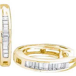 925 Sterling Silver Yellow 0.15CTW DIAMOND FASHION HOOP