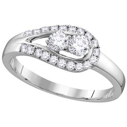 10kt White Gold Womens Round Natural Diamond 2-stone Br