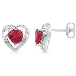 10kt White Gold Womens Round Lab-Created Ruby Heart Lov