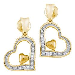 10K Yellow-gold 0.10CT DIAMOND HEART EARRING