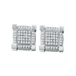 Sterling Silver Womens Round Diamond 3D Square Cluster