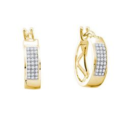 10KT Yellow Gold 0.16CTW DIAMOND MICRO PAVE HOOPS
