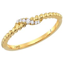 10kt Yellow Gold Womens Round Diamond Crossover Stackab