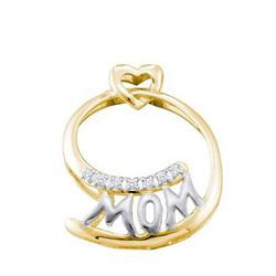 14KT Yellow Gold 0.04CTW DIAMOND 'MOM' PENDANT