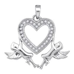 10KT White Gold 0.12CTW DIAMOND HEART PENDANT