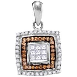 10KT White Gold 0.33CTW COGNAC DIAMOND FASHION PENDANT