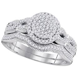 10KT White Gold 0.40CTW DIAMOND MICRO-PAVE BRIDAL SET