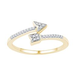 10kt Yellow Gold Womens Round Natural Diamond Arrow Fas