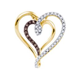 10KT Yellow Gold 0.25CTW COGNAC DIAMOND HEART PENDANT