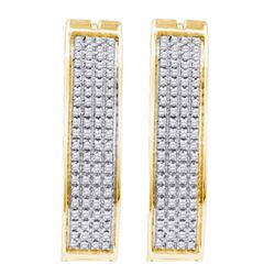 10KT Yellow Gold 0.50CTW DIAMOND MICRO PAVE HOOPS