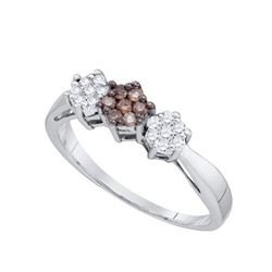 10KT White Gold 0.26CT COGNAC DIAMOND FLOWER RING