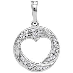 10kt White Gold Womens Round Diamond Circle Heart Cutou