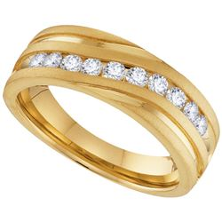 10k Yellow Gold Mens Natural Round Diamond Channel-set