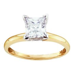 14KT Yellow Gold Two Tone 0.25CTW DIAMOND PRINCESS RING