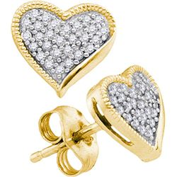 10K Yellow-gold 0.19CTW DIAMOND HEART EARRING