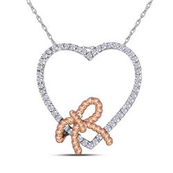 10kt White Gold Womens Round Diamond Rose-tone Rope Kno