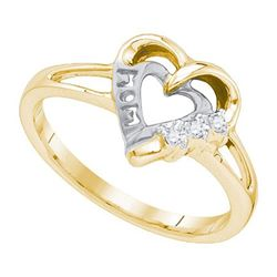 925 Sterling Silver Yellow 0.03CTW DIAMOND HEART RING