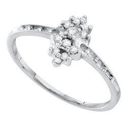 10KT White Gold 0.12CTW DIAMOND CLUSTER RING WHITE GOLD