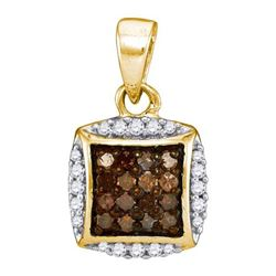 10K Yellow-gold 0.25CTW COGNAC DIAMOND MICRO-PAVE PENDA