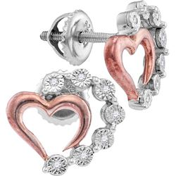 Sterling Silver Womens Round Diamond Rose-tone Heart St