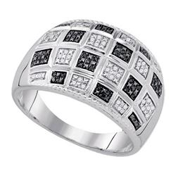 925 Sterling Silver White 0.19CTW-BLACK DIAMOND MICRO-P