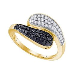 10kt Yellow Gold Womens Round Black Color Enhanced Diam