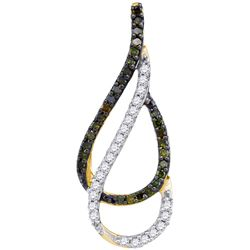 10kt Yellow Gold Womens Round Green Colored Diamond Dou