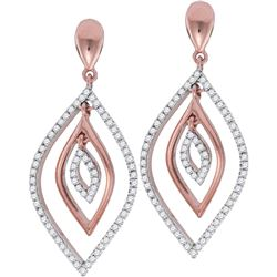 10kt Rose Gold Womens Round Diamond Nested Oval Dangle