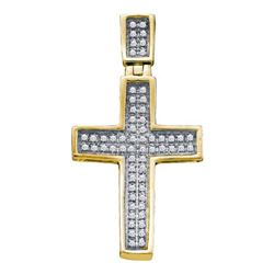 10K Yellow-gold 0.17CTW DIAMOND CROSS PENDANT