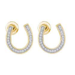 10KT Yellow Gold 0.15CTW DIAMOND LADIES HORSE SHOE EARR