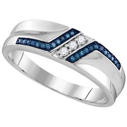 Sterling Silver Mens Round Blue Colored Diamond Wedding