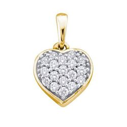 14KT Yellow Gold 0.10CTW ROUND DIAMOND LADIES HEART PEN