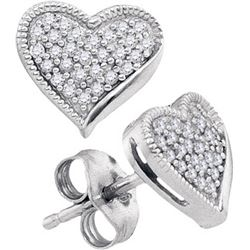 10KT White Gold 0.19CTW DIAMOND HEART EARRING