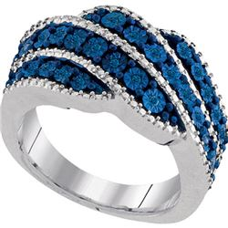 925 Sterling Silver White 0.13CTW BLUE DIAMOND FASHION