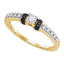 10K Yellow-gold 0.27CTW BLACK DIAMOND FASHION RING