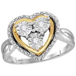 Womens Two Tone Finish Heart Love Fanook Real Diamond F