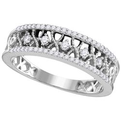10kt White Gold Womens Round Natural Diamond Fashion Ba