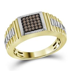 10kt Yellow Gold Mens Round Cognac-brown Colored Diamon