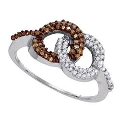 10KT White Gold 0.33CTW COGNAC DIAMOND MICRO-PAVE RING