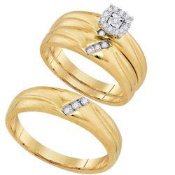 10K Yellow-gold 0.18CTW DIAMOND FASHION TRIO SET