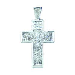 14kt White Gold Womens Princess Diamond Cross Religious
