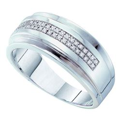 10KT White Gold 0.15C DIAMOND MICRO PAVE MENS BAND