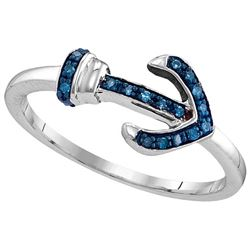 Sterling Silver Womens Round Blue Colored Diamond Ancho