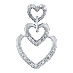 10KT White Gold 0.06CTW ROUND DIAMOND HEART PENDENT
