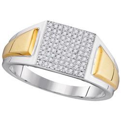 10KT White Gold Two Tone 0.26CTW DIAMOND MICRO-PAVE RIN