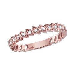 10kt Rose Gold Womens Round Diamond Ovals Stackable Ban