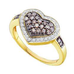 10KT Yellow Gold 0.51CTW COGNAC DIAMOND LADIES HEART RI