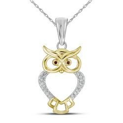 10kt Yellow Gold Womens Round Natural Diamond Owl Bird