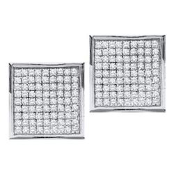 10KT White Gold 0.05CTW DIAMOND MICRO PAVE EARRINGS