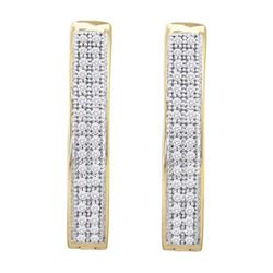 10KT Yellow Gold 0.20CTW DIAMOND MICRO PAVE HOOPS